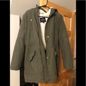Olive American Eagle Parka Coat.